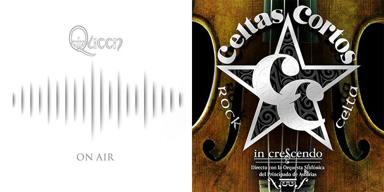 Portadas de Queen On Air y Celtas Cortos In Crecendo