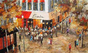 Promenade Parisienne, acrílico de Michael Rozenvain.