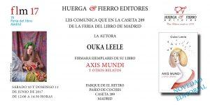 Firma del libro Axis Mundi y otros relatos, de Ouka Leele, en la Feria del Libro de Madrid 2017
