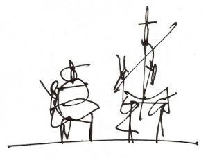 Don Quijote y Sancho Panza, de Antonio Saura.