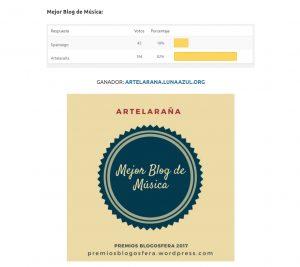 Artelaraña, Premio Blogosfera a Mejor Blog de Música 2017